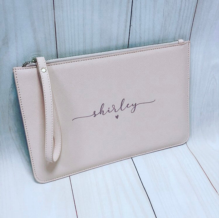 NAOMI Personalised Clutch Bag with script name The Bespoke Wedding Gift Company