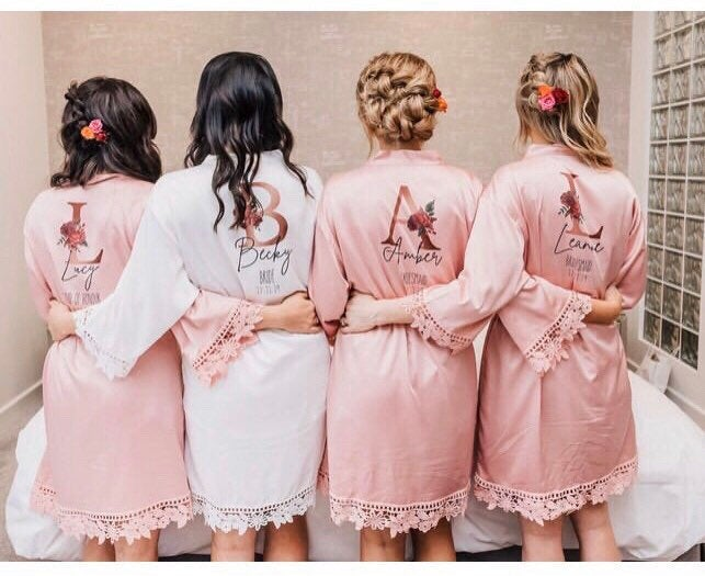 ALICE satin wedding robes with Rose Gold Initials