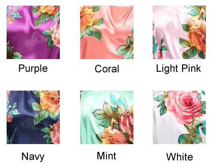 CHLOE Non Personalised Satin Robes with Watercolour Flowers