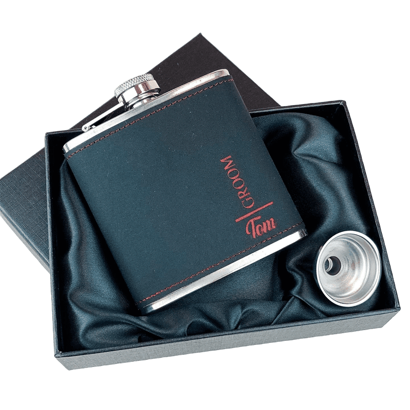 Black and Red Two Tone Personalised Groom Hip Flask