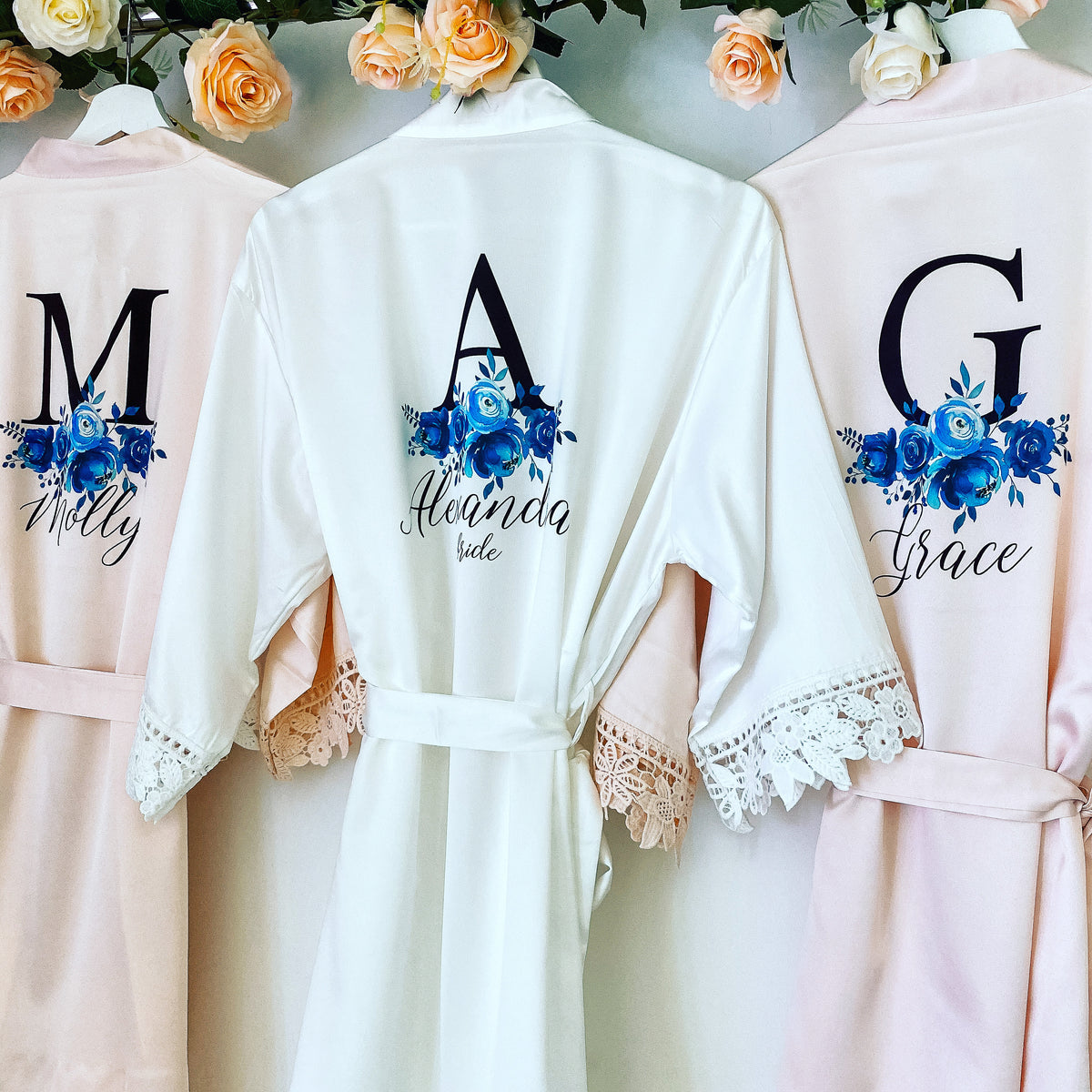 WENDY satin and lace robes with blue floral design The Bespoke Wedding Gift Company