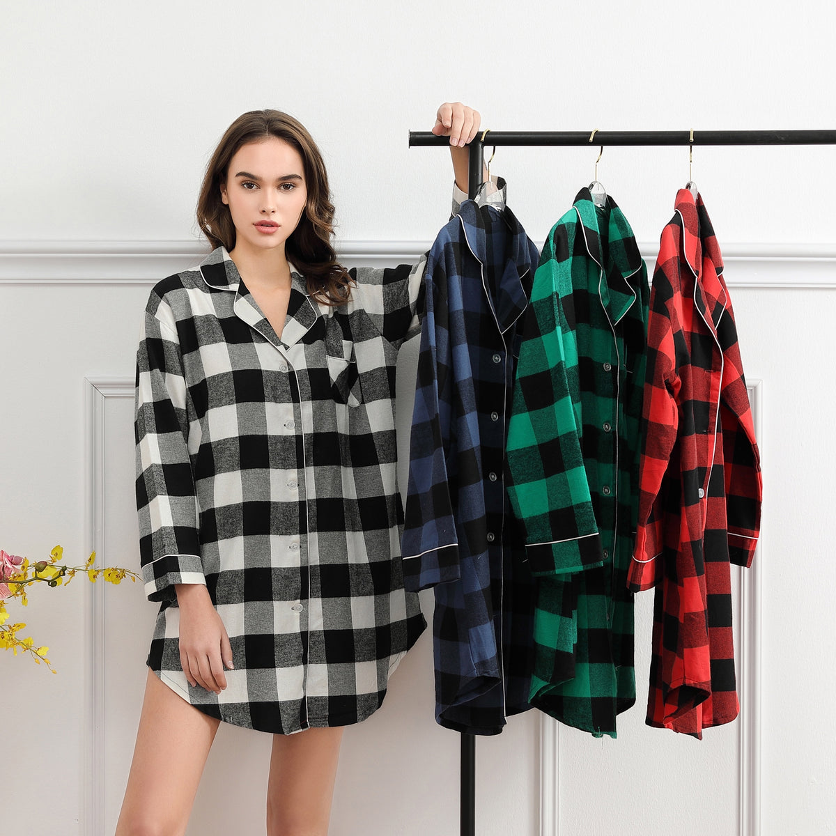 MILEY plaid cotton sleep-shirt