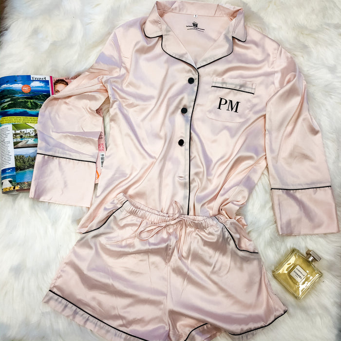 APRIL Long Sleeve+Shorts Satin Pyjamas Set
