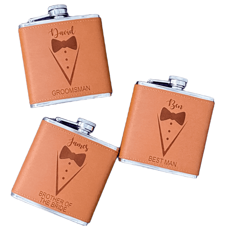 Personalised Groom Hip Flask with Suit Design