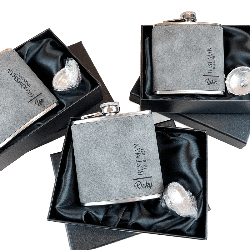 Grey Vegan Leather Personalised Groom Hip Flask