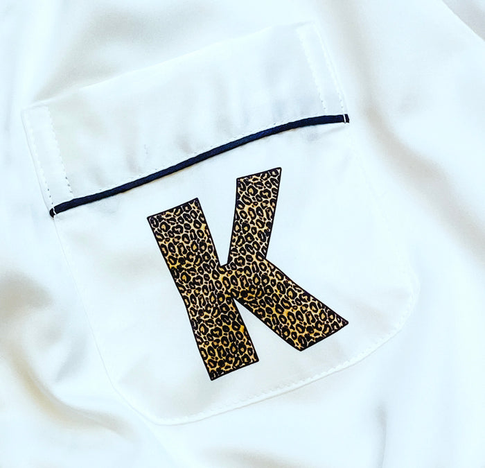 satin pyjamas with leopard alphabet The Bespoke Wedding Gift Company