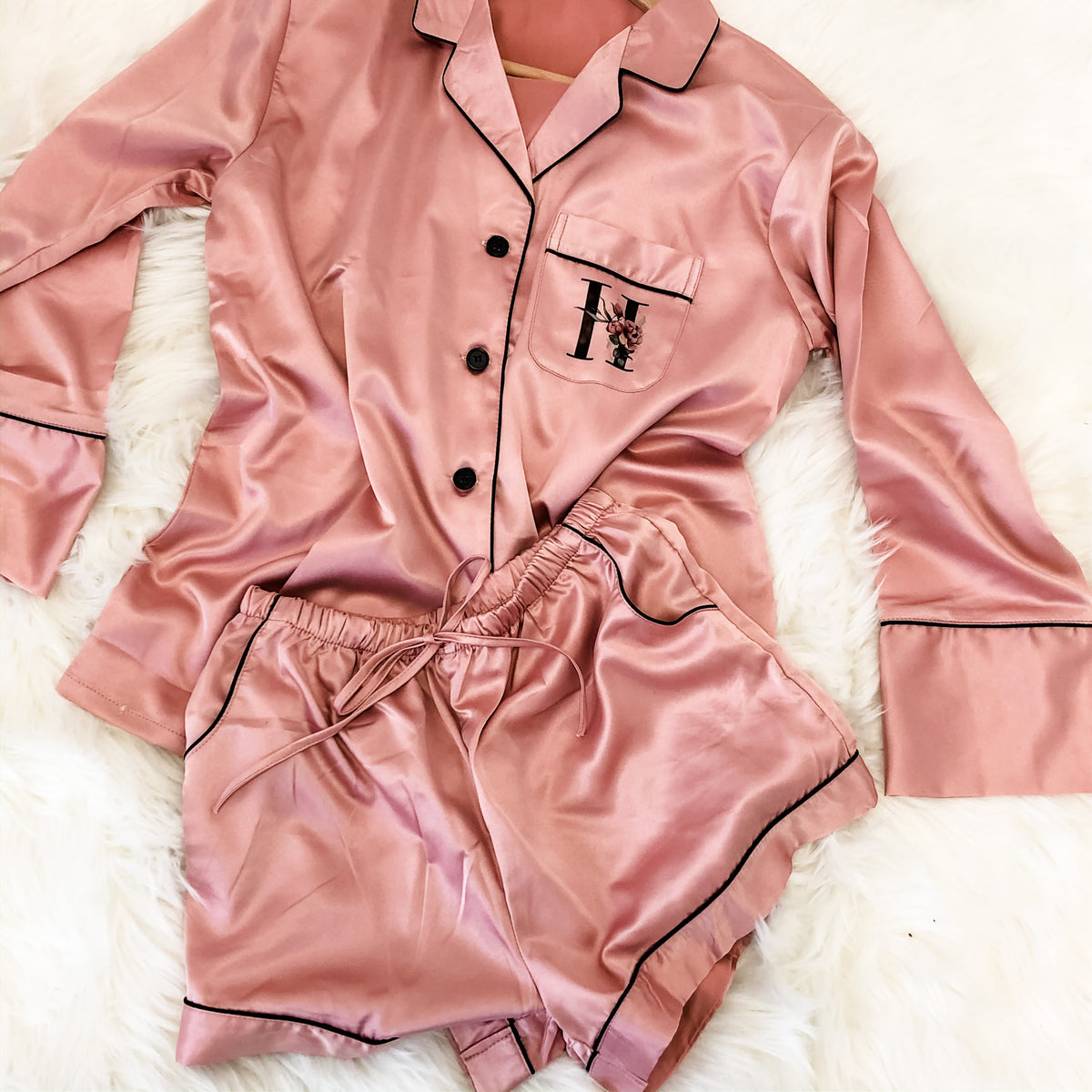 PIPPA long sleeve + shorts satin pyjamas The Bespoke Wedding Gift Company