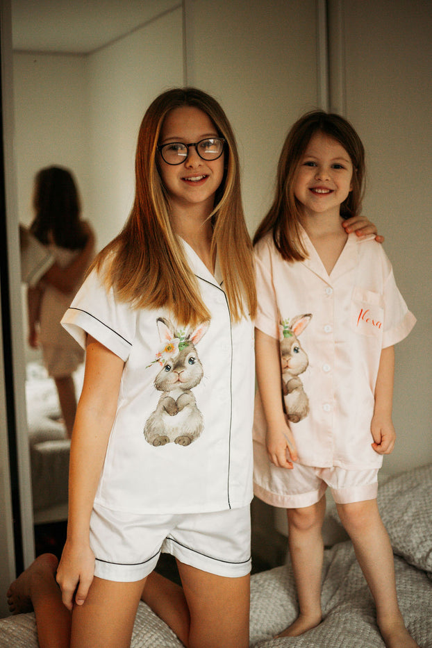 kids satin pyjamas The Bespoke Wedding Gift Company