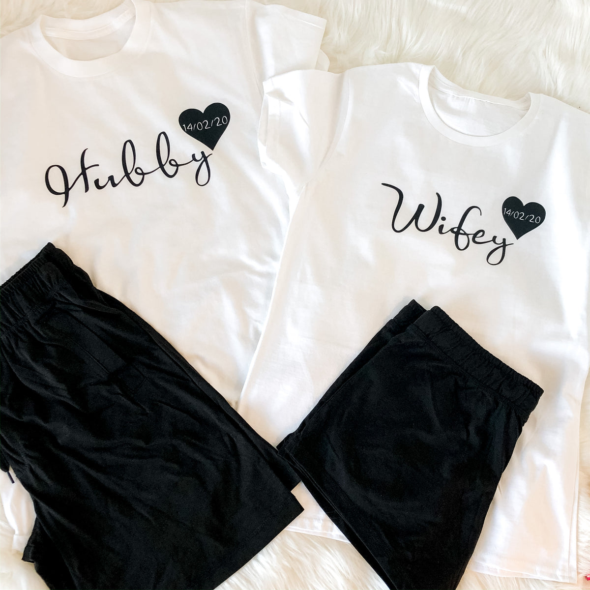 Hubby and Wifey matching pyjamas in black The Bespoke Wedding Gift Company