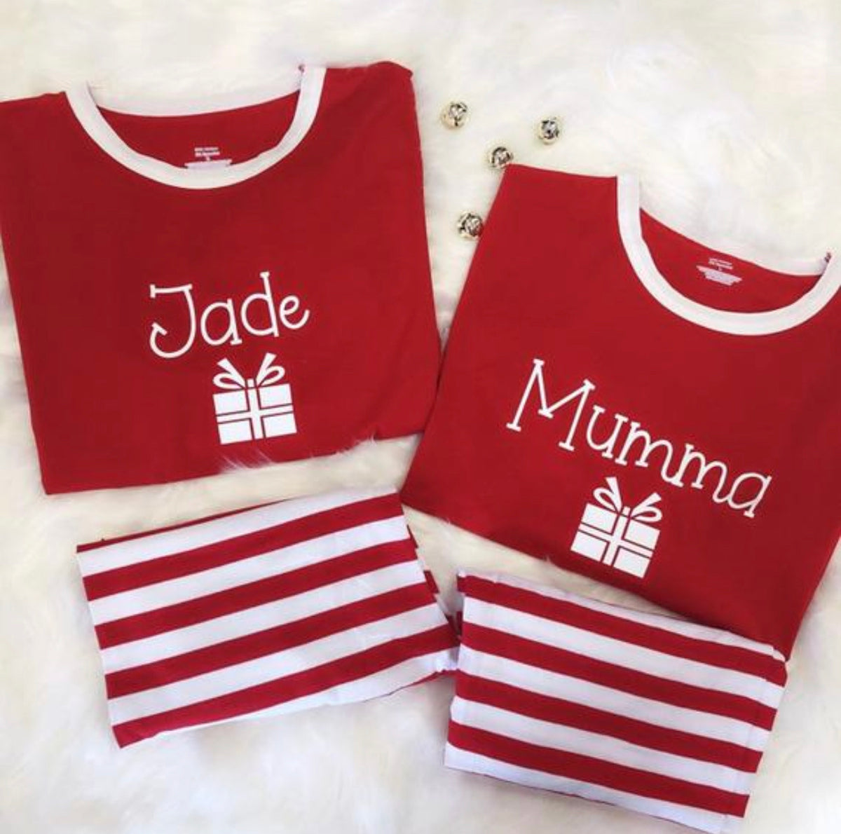 "Striped Christmas Family Pyjamas with ""GIFT BOX"" design"