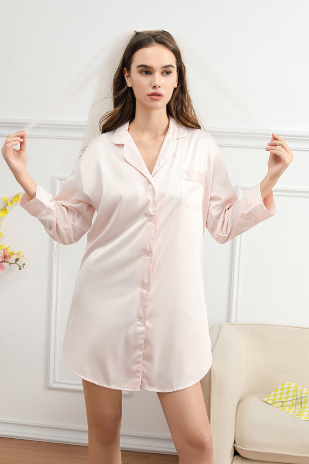 satin sleep shirt The Bespoke Wedding Gift Company