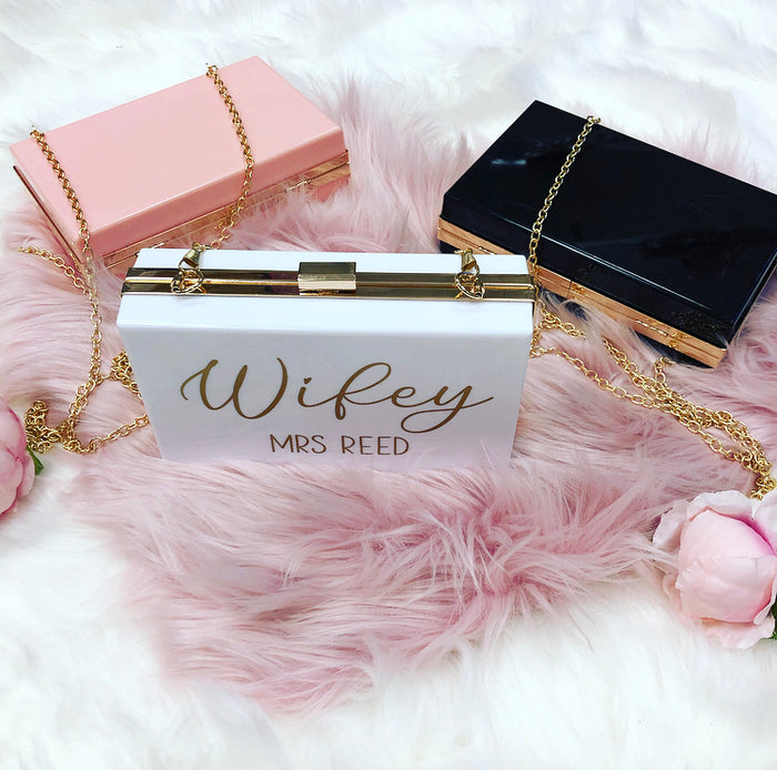 MIA Wifey Custom Name acrylic clutch bag