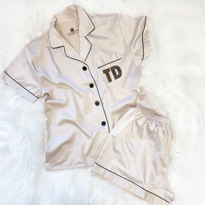 KIMMY short sleeve + shorts satin pyjamas with leopard alphabet