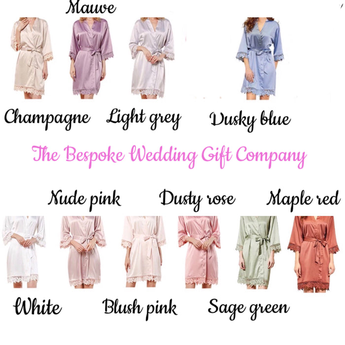 SOPHIA robes with watercolour bouquet The Bespoke Wedding Gift Company
