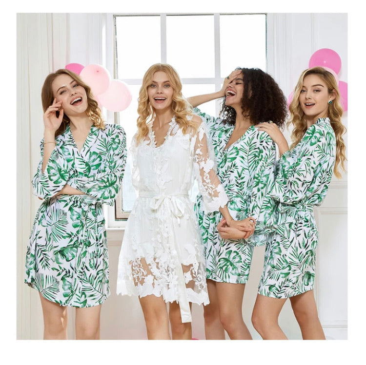 SADIE cotton robes with tropical palm leaves