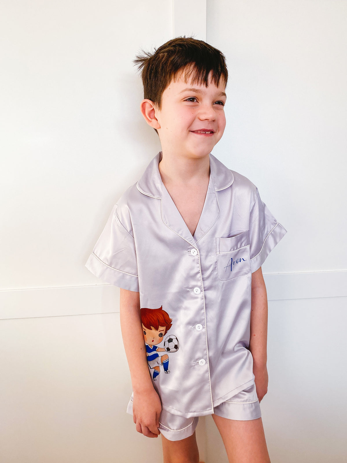 boy's satin pyjamas with short sleeve + shorts, satin pyjamas for children The Bespoke Wedding Gift Company