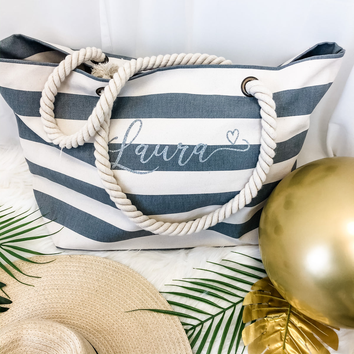 GINA Nautical Beach Bag + accessory pouch