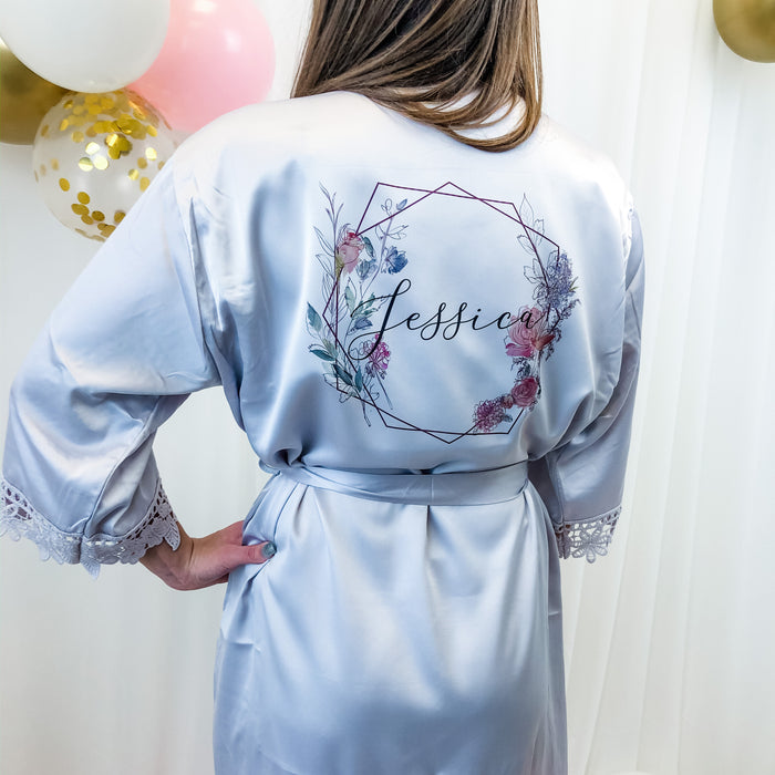 LISA robes with Geometric Floral Design