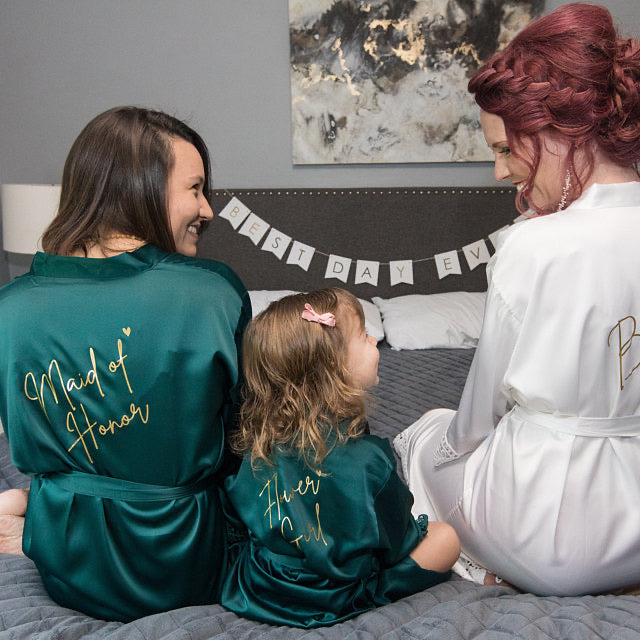TILLIE robes with script details The Bespoke Wedding Gift Company