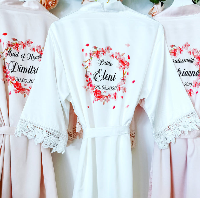 YASMIN robes with cherry blossom design The Bespoke Wedding Gift Company