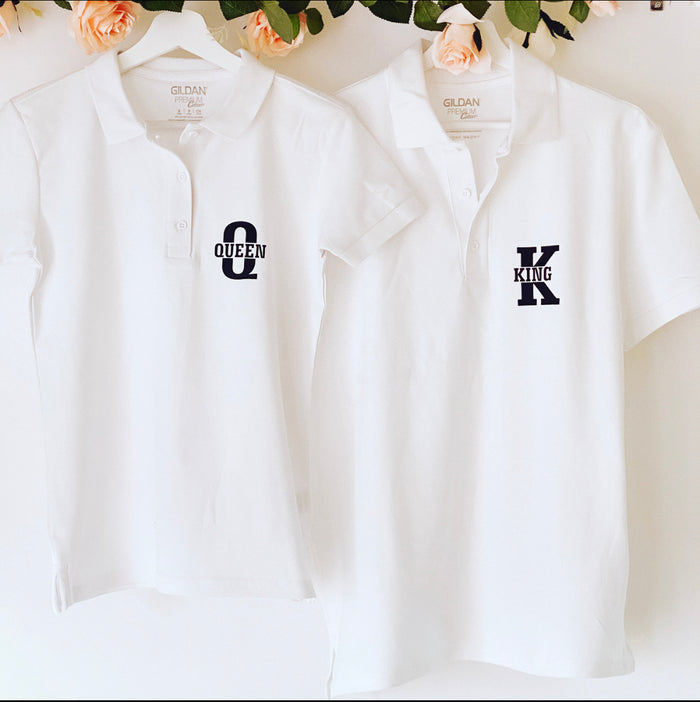 King and Queen Polo Shirt The Bespoke Wedding Gift Company