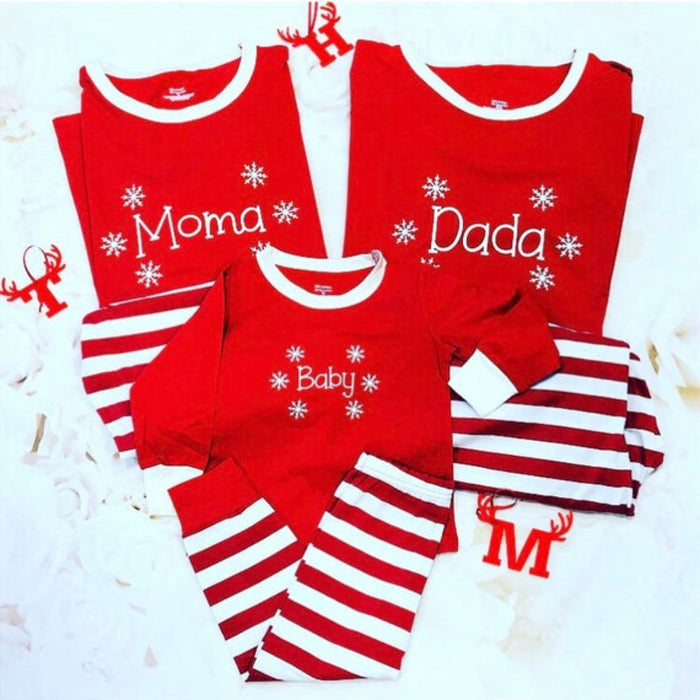 Striped Christmas Family Pyjamas with SNOWFLAKE design