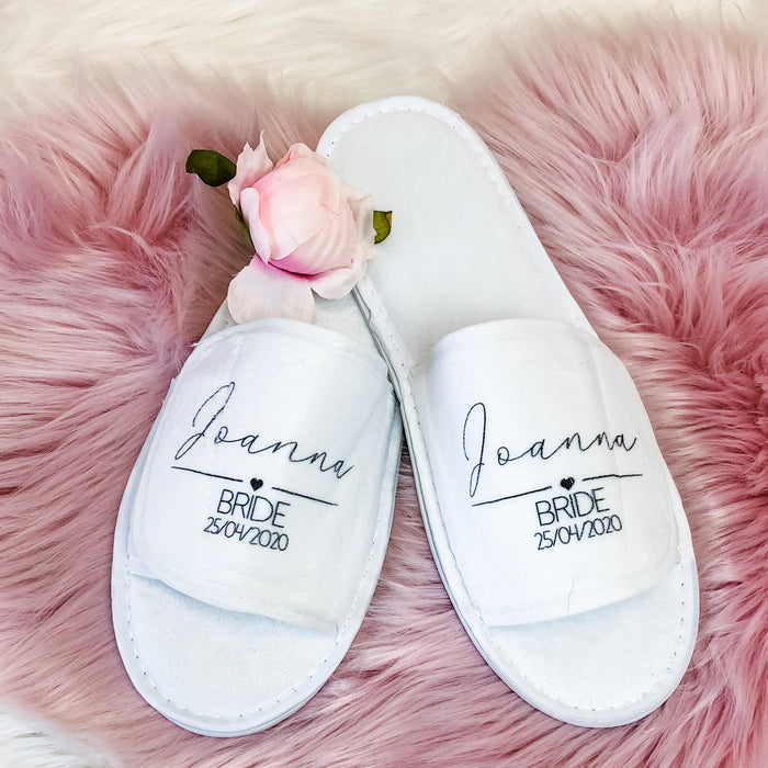EMILY Personalised wedding slippers