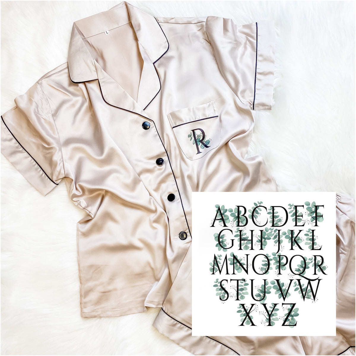 satin pyjamas with green alphabet The Bespoke Wedding Gift Company