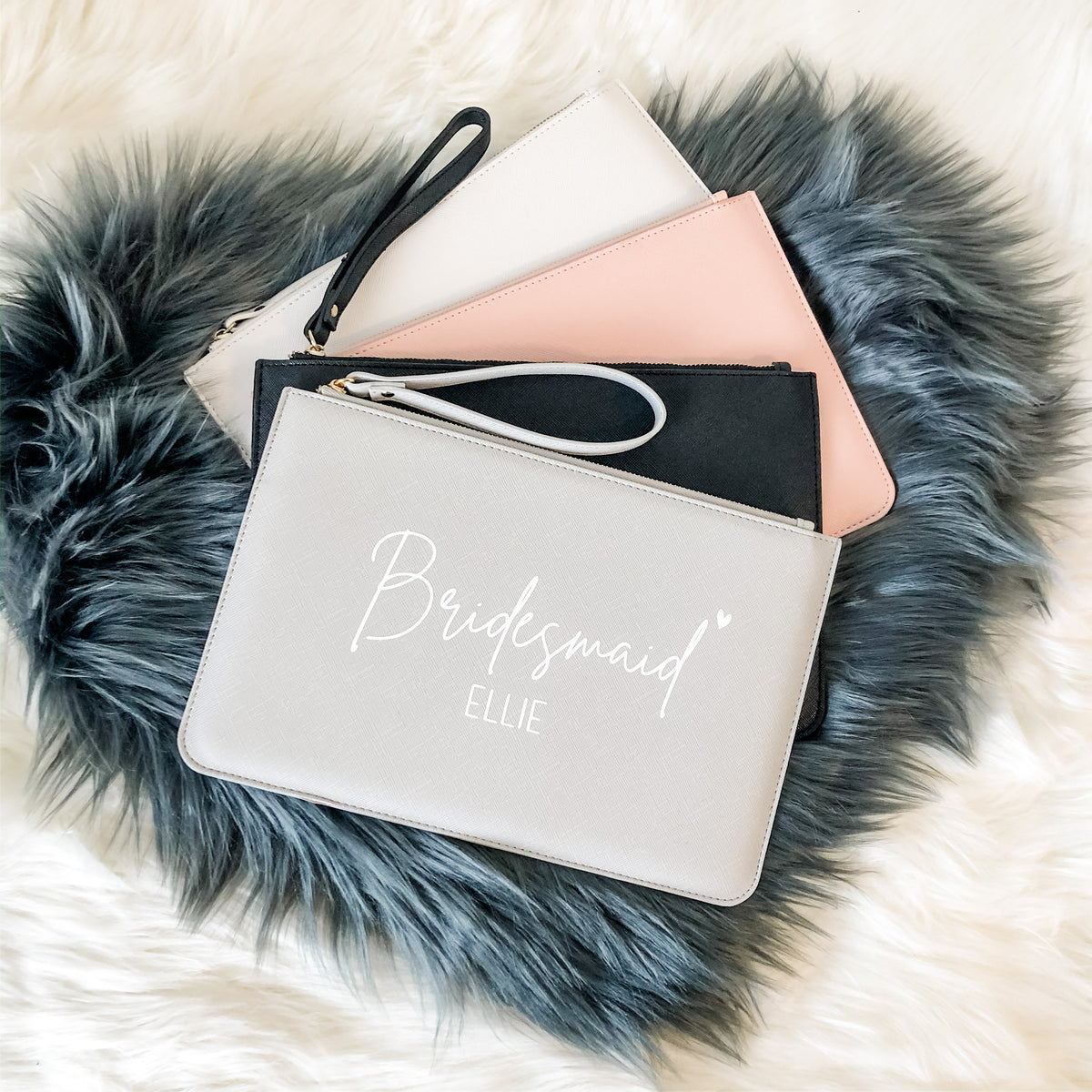 TILLIE Personalised Clutch Bag with script name