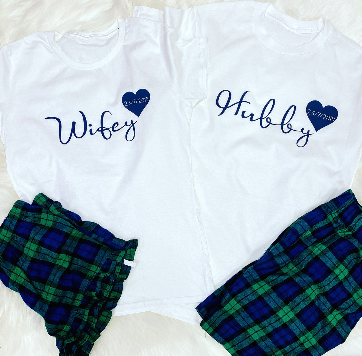 Tartan style Hubby and Wifey matching pyjamas