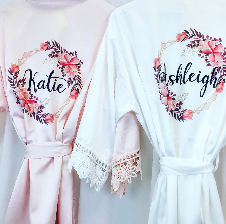 NATALIE robes with geometric floral design