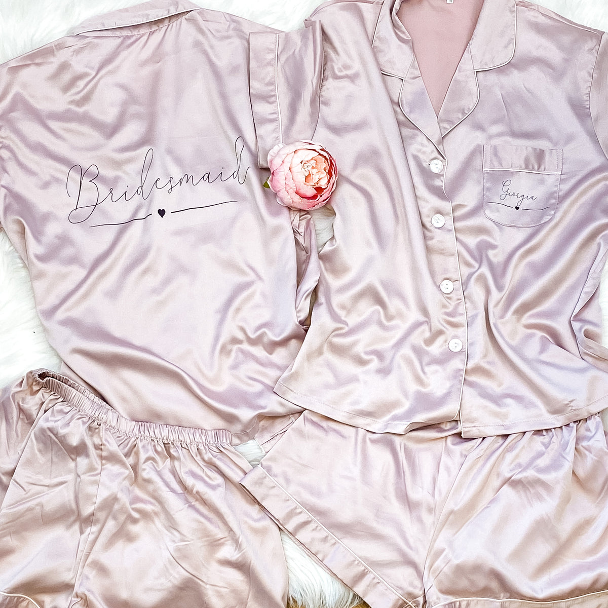 EMILY short sleeve + shorts satin pyjamas The Bespoke Wedding Gift Company