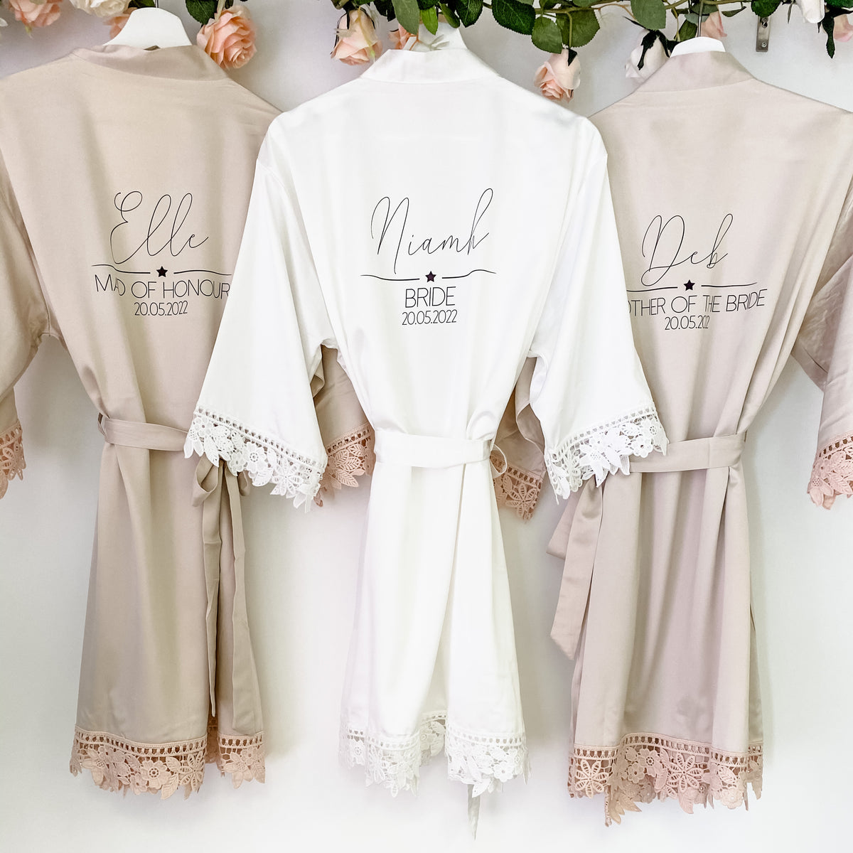 CHRISTINA robes with star divider design The Bespoke Wedding Gift Company