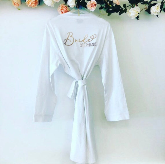 STEPHANIE jersey cotton robe The Bespoke Wedding Gift Company