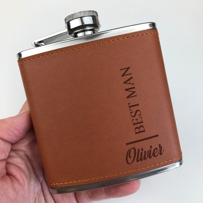 Personalised Groom Hip Flask, Brown Vegan Leather Hip Flask