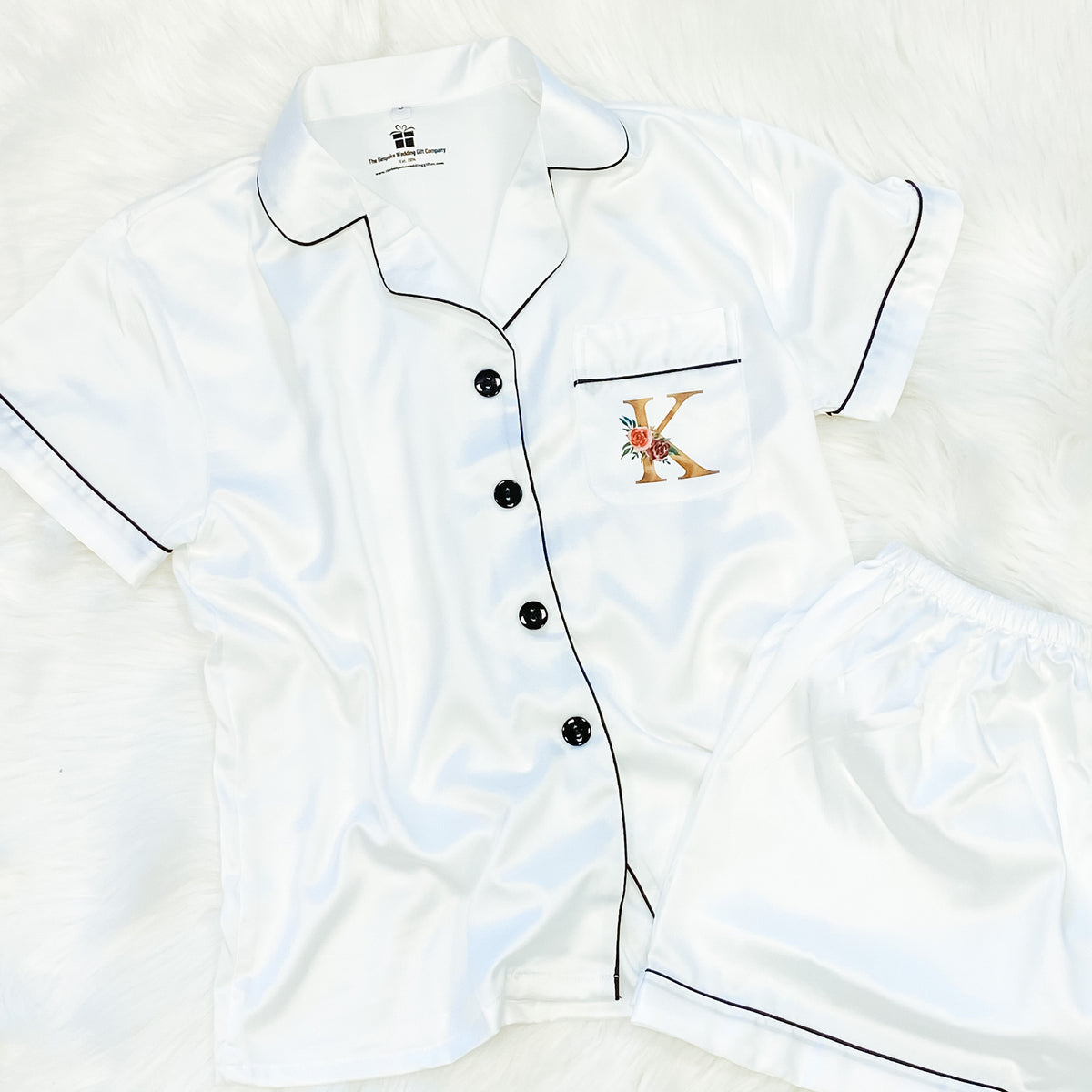 Satin pyjamas with gold initial The Bespoke Wedding Gift Company