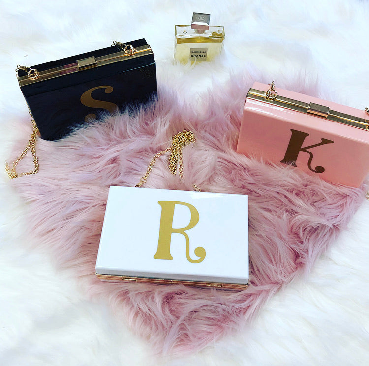 EVELYN Custom Initial acrylic clutch bag