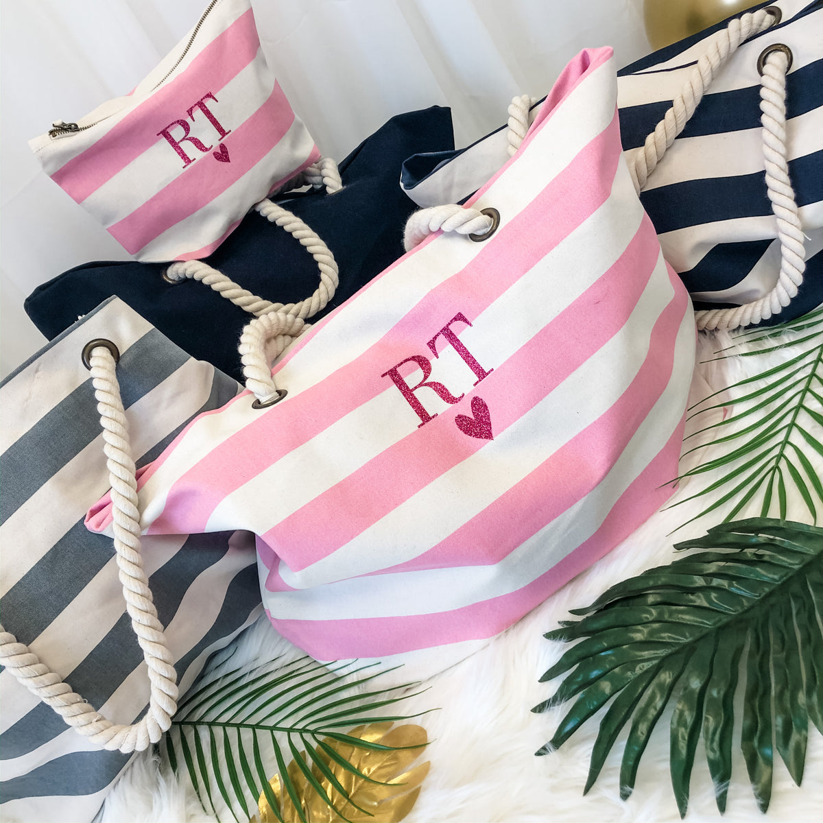 Nautical Beach Bag + accessory pouch