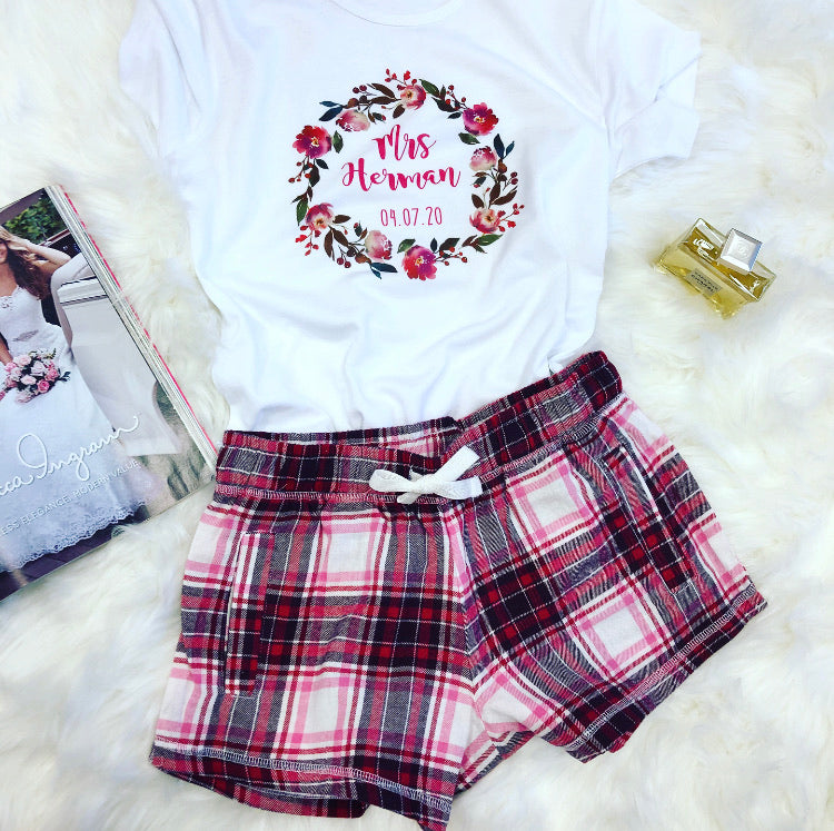 RUBY wedding pyjamas with pink plaid shorts or long trousers