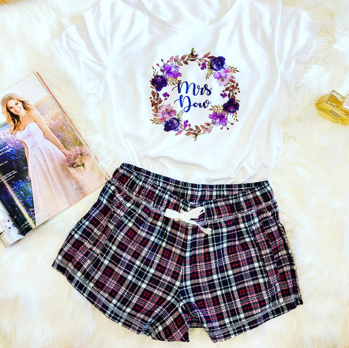 VIOLET wedding pyjamas with plaid shorts or long trousers