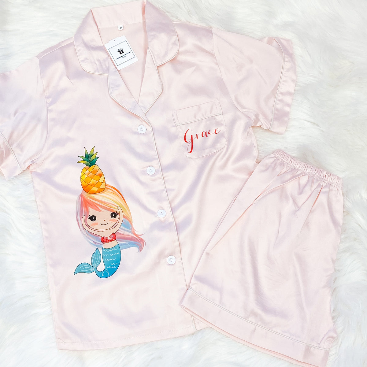 GINNY kids short sleeve + shorts satin pyjamas for children