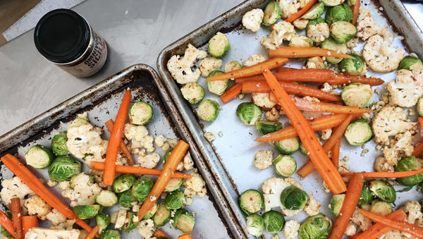 roasted vegetables tossed with Omnivore Sicilia and seasoned with Omnivore Salt
