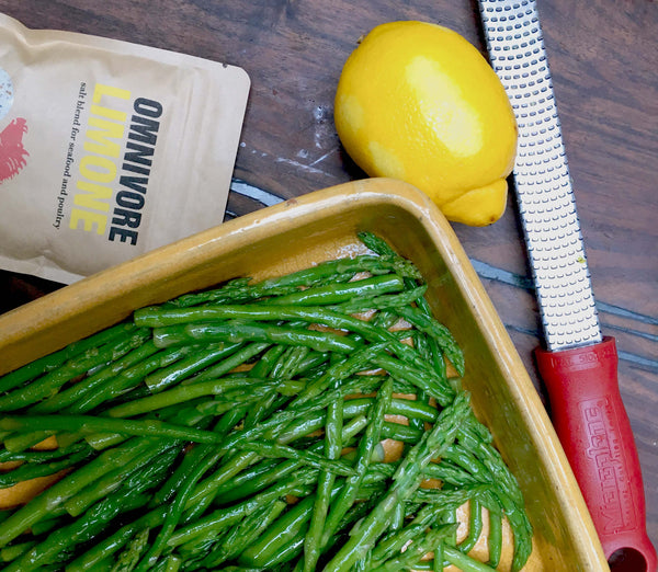 omnivore limone is the perfect seasoning for asparagus