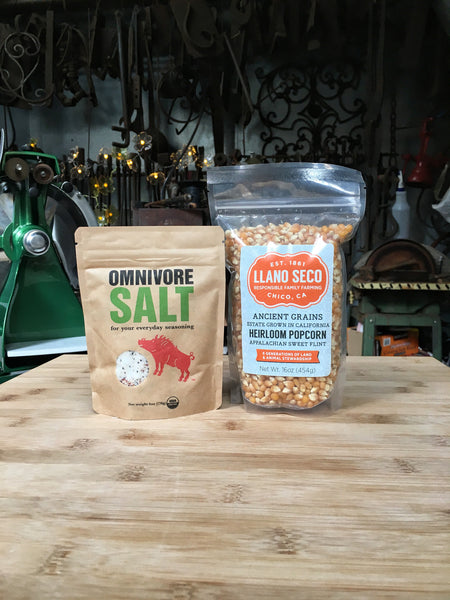 gourmet seasoning omnivore salt and llano seco pop corn