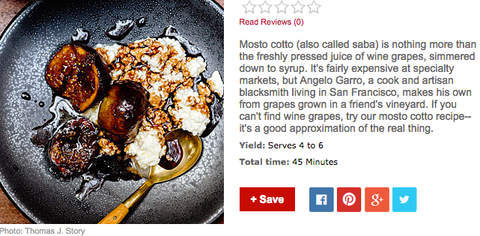 omnivore's recipe for mosto cotto