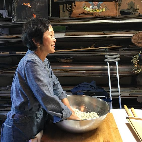 Sonoko Sakai at Angelo Garro's Renaissance Forge for a summer cooking class using Omnivore organic seasoning salt.
