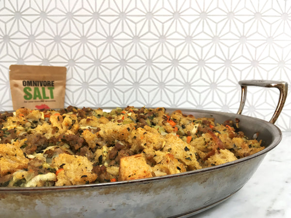 Thanksgiving stuffing with Omnivore Salt