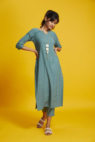 Party Wear Solid Poly Viscose Straight Kurta With Teal Green Colour
