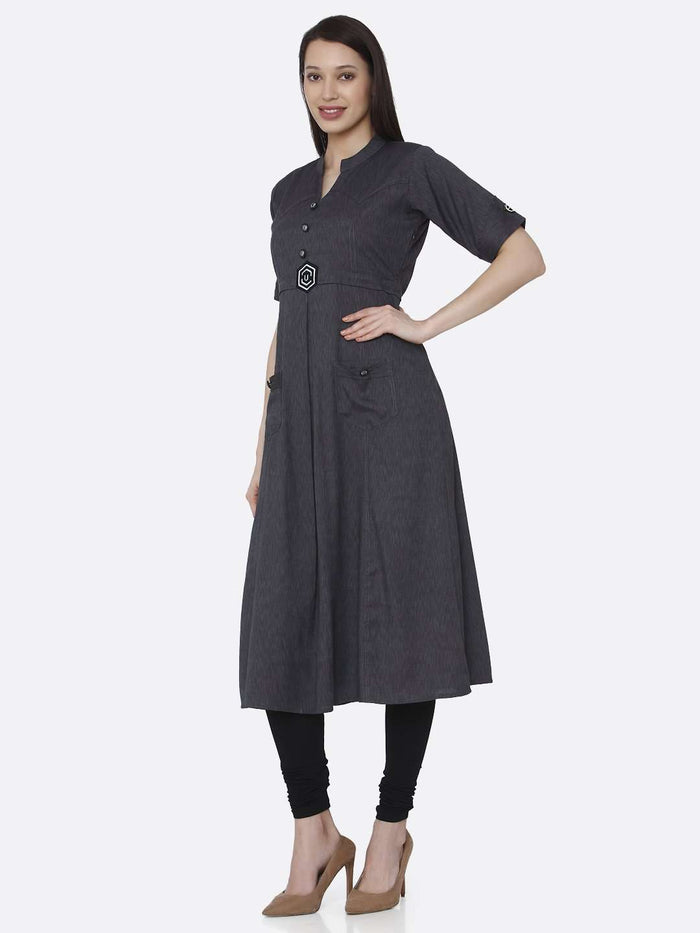 Left Side Grey Solid Cotton A-Line Dress With Black Leggings
