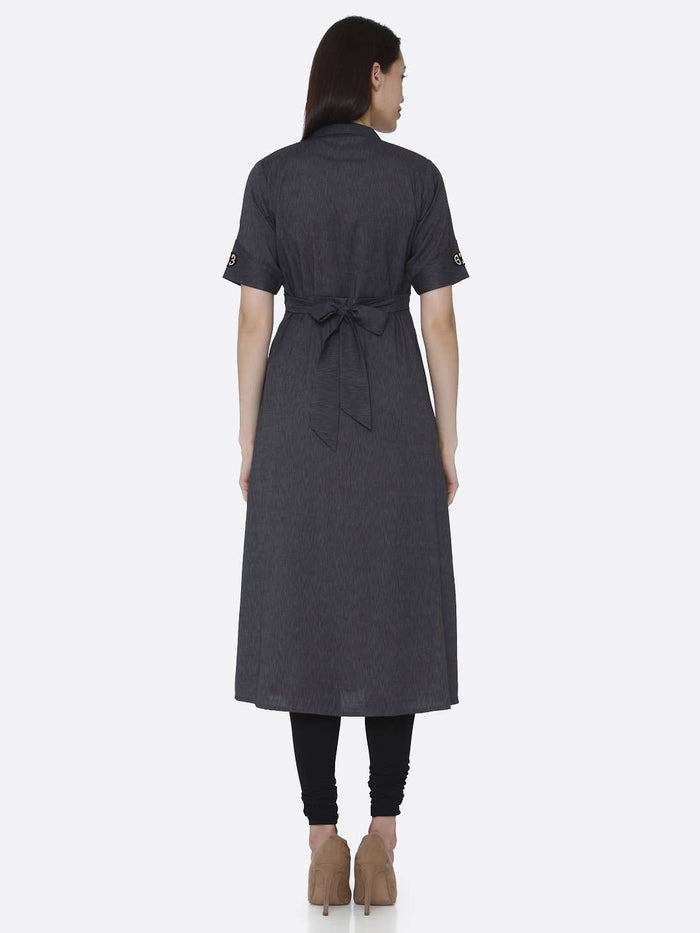 Back Side Grey Solid Cotton A-Line Dress With Black Leggings